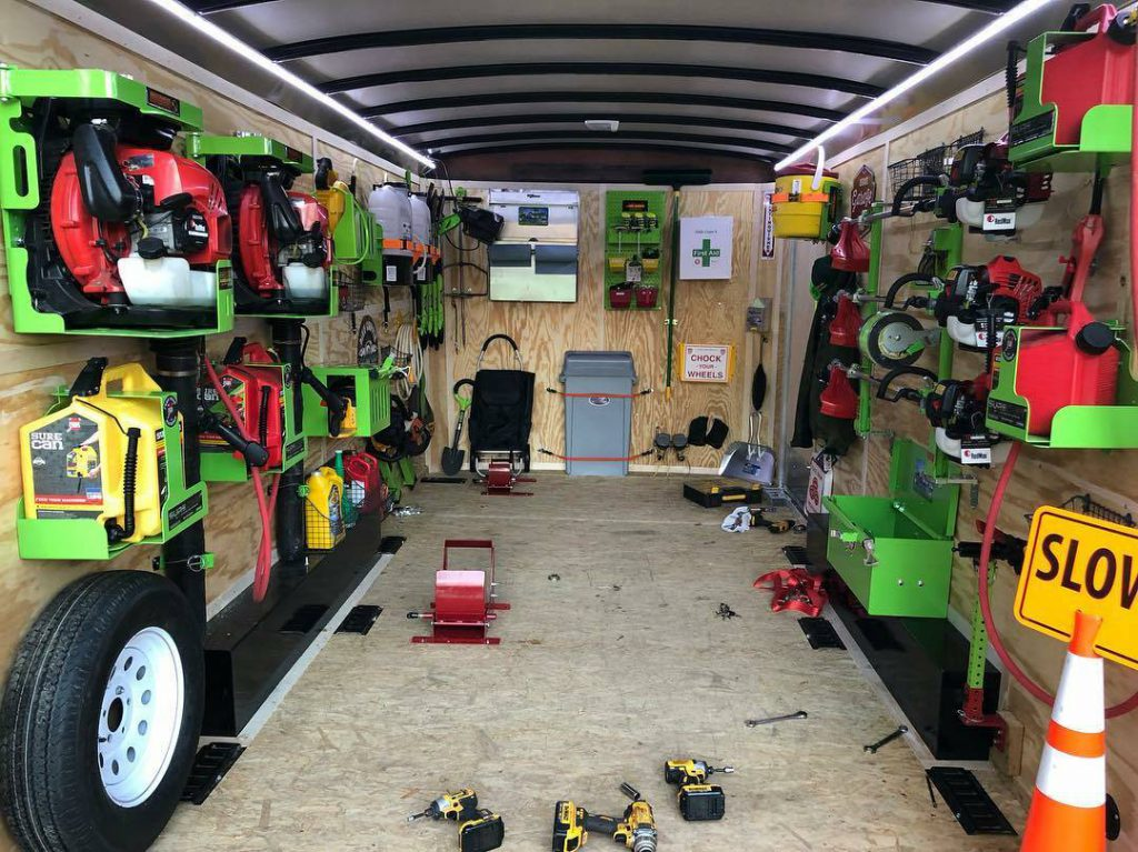 landscape trailer for your business - enclosed trailer with landscaping supplies