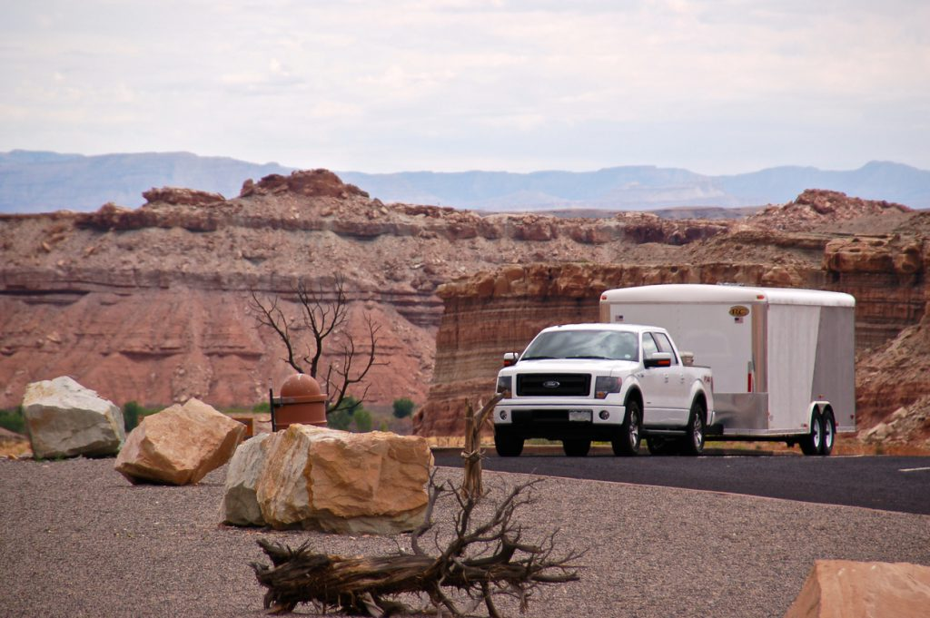 Green River, United States - September 7th 2014. 2014 model year Ford F-150 with a trailer parked at a rest stop along Interstate 70.